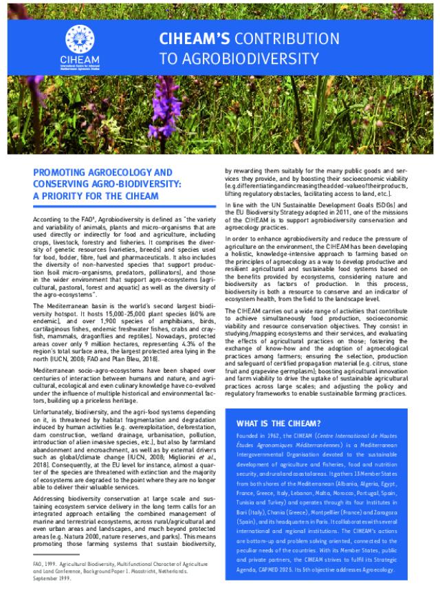 CONTRIBUTION DU CIHEAM POUR L'AGRO-BIODIVERSITE