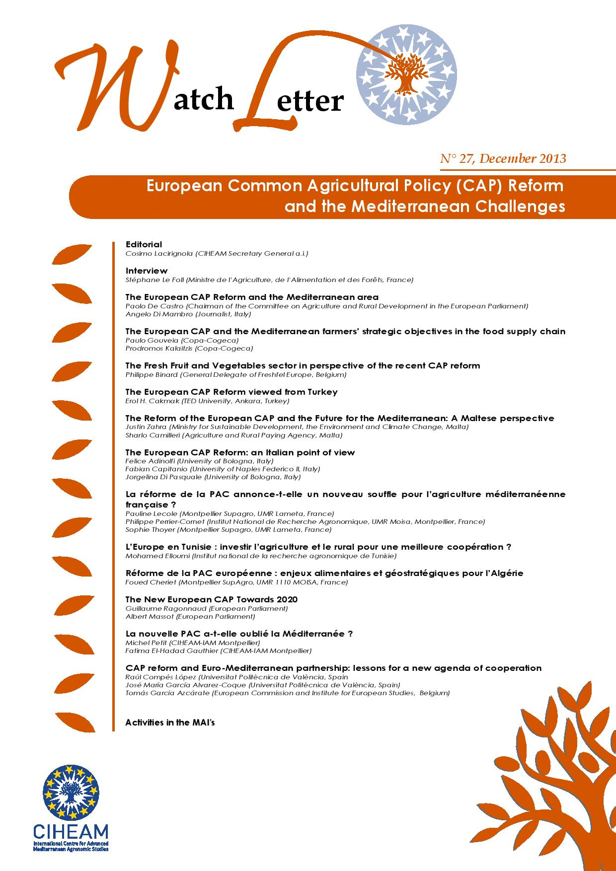 WL 27 European common agricultural policy (CAP) reform and the Mediterranean challenges