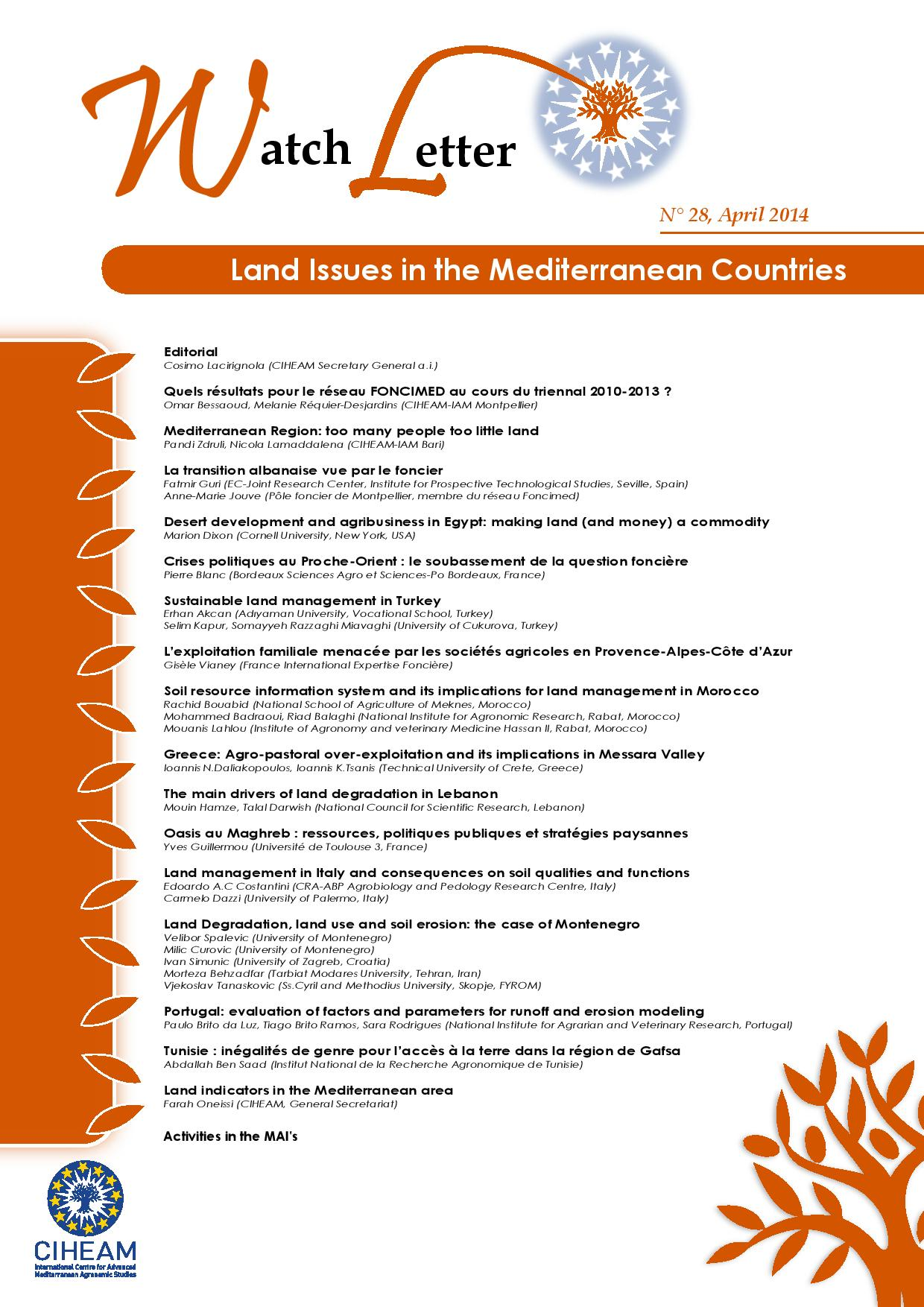 WL 28 Land Issues in the Mediterranean Countries