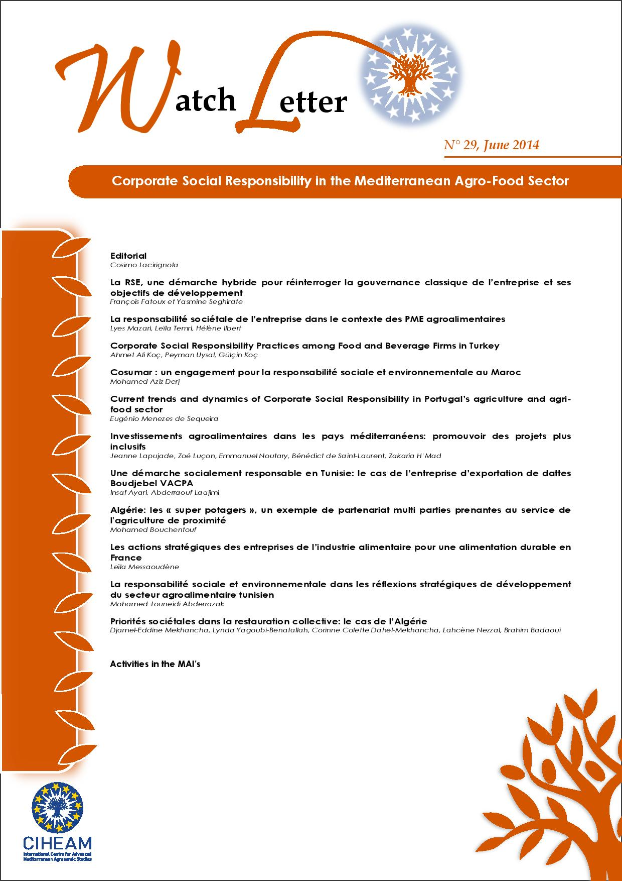 WL 29 Corporate Social Responsibility in the Mediterranean Agro-Food Sector
