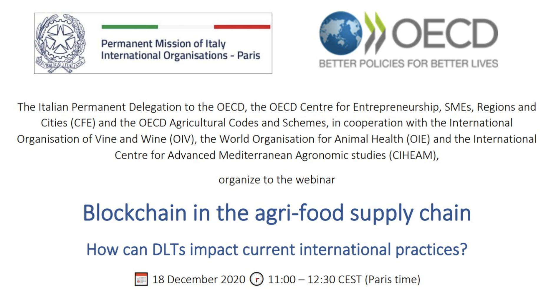 Webinar Blockchain in the agri-food supply chain – How can DLTs impact current international practices?